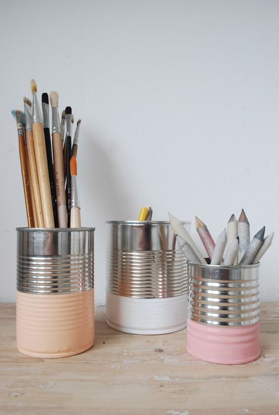 Paint dipped cans, cute idea