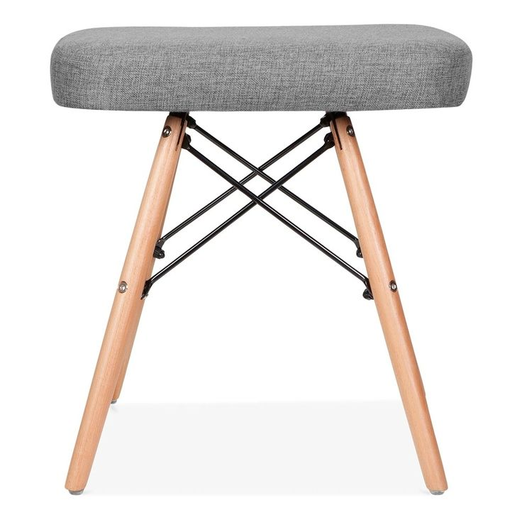 Eames Inspired Upholstered Stool With DSW Style Legs - Cool Grey