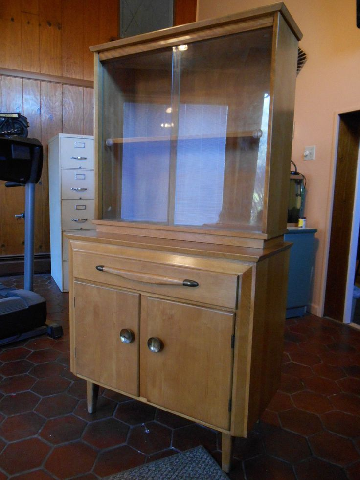 Mid Century Deco Modern Blonde China Cabinet Temple Stuart Heywood ...