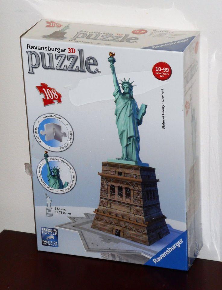 Ravensburger+3D+Statue+of+Liberty+108+Piece+Jigsaw+Puzzle+Plastic+125845+NEW+NIB