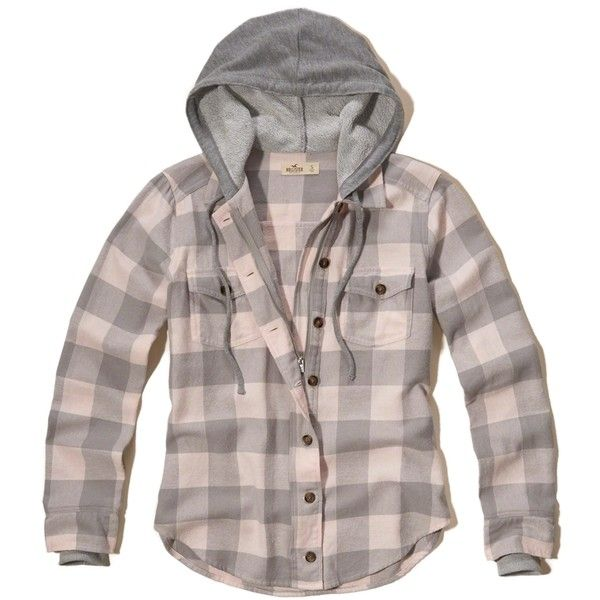 Hollister Hooded Flannel Shirt (250 SEK) ❤ liked on Polyvore featuring tops, pink check, zipper shirt, tartan flannel shirt, brown flannel shirt, plaid shirts and pink plaid shirt