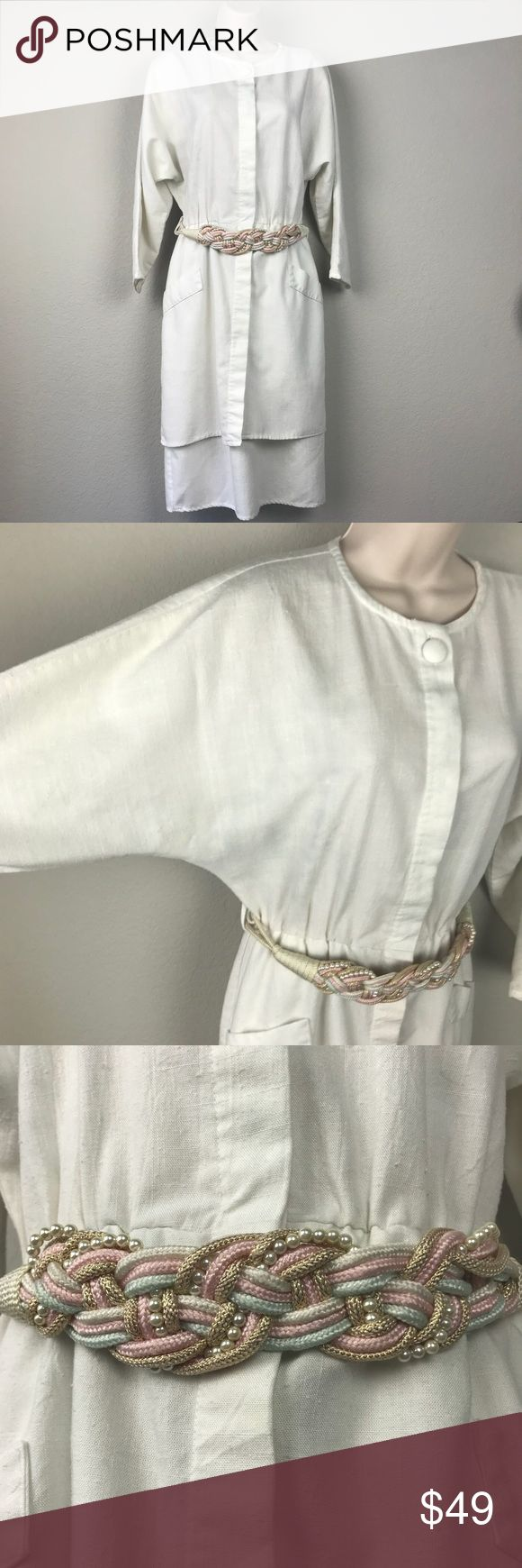 VTG 80s Byer Too Slub White Belted Midi Dress Vintage 1980s rayon poly blend slub knit (kind of a thick almost linen feel) off white almost white dolman sleeved belted dress with hidden buttons down front that go from chest to outer double skirt (see pics of inside skirt layer) , fabric covered button at neck and gorgeous pearl and ribbon braided belt with gold hook closure. Excellent vintage condition, no holes tears or stains. Made in the USA. Size 9 fits like modern M. Earthquake boho…