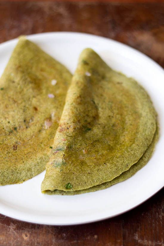 Pesarattu Dosa or Moong Dal Dosa, VegRecipeOfIndia (moong beans, green chili, ginger, rice flour [just a bit], cilantro, onion, oil/ghee for pan frying)