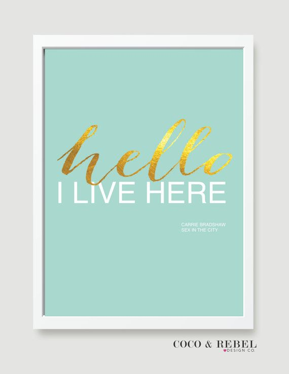 Faux gold Foil Hello Sex in the City quote Digital by CocoAndRebel