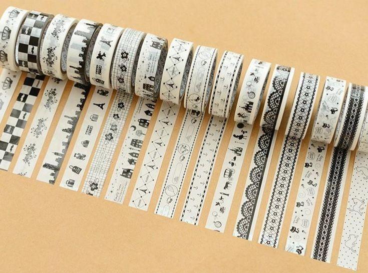 adhesiva del washi alta calidad / blanco y negro cinta decorativa / etiqueta adhesiva de bricolajeal por mayor