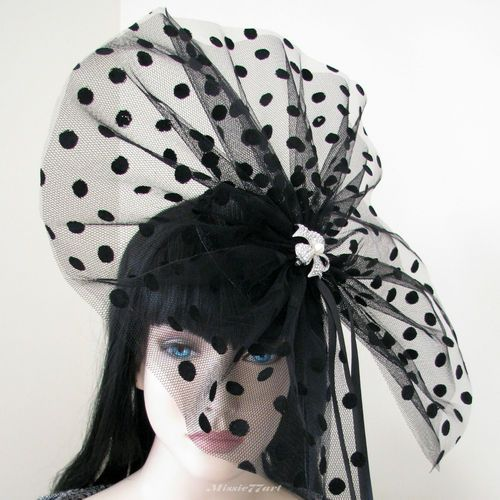 Vintage Inspired Black Flocked Spot Hat Fascinator with Diamantes Melbourne Cup $164.95 from Missie77art Jewellery on eBay