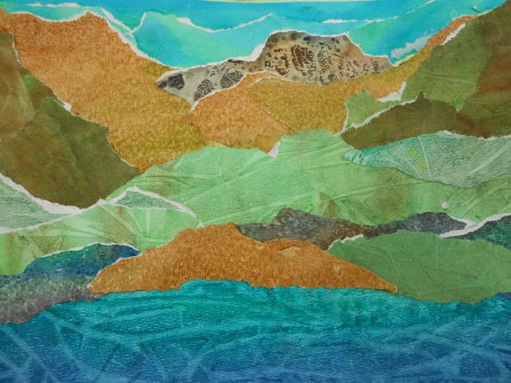 Wc landscape collage grade 8 student artwork pinterest for Landscape art projects