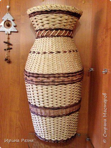 Доброго здравия Рукодельники. Хочу показать последнее творение. Плела на заказ вазу. В нее предполагается в будущем поместить сухоцветы. фото 1