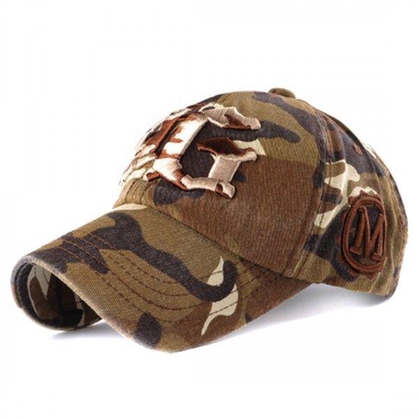 Embroiderd YG Logo Camo Brown Baseball Cap