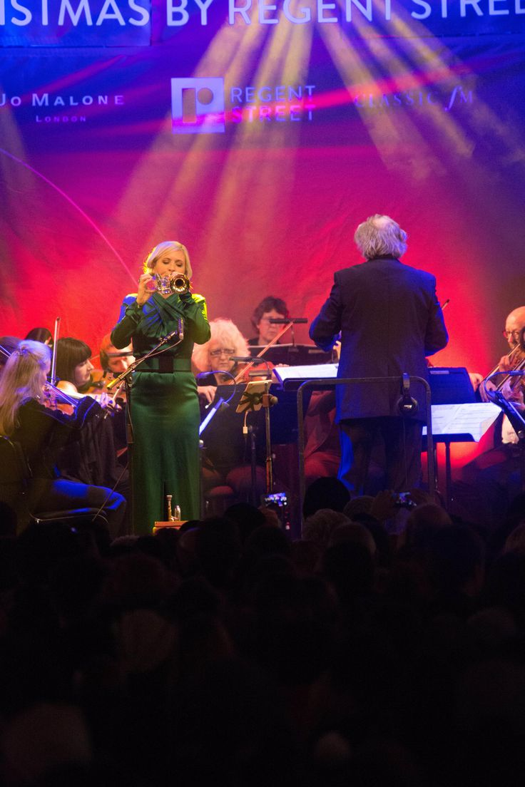 Trumpeter Alison Balsom gave a spellbinding performance at the #RegentStreet #Christmas Lights switch on event.