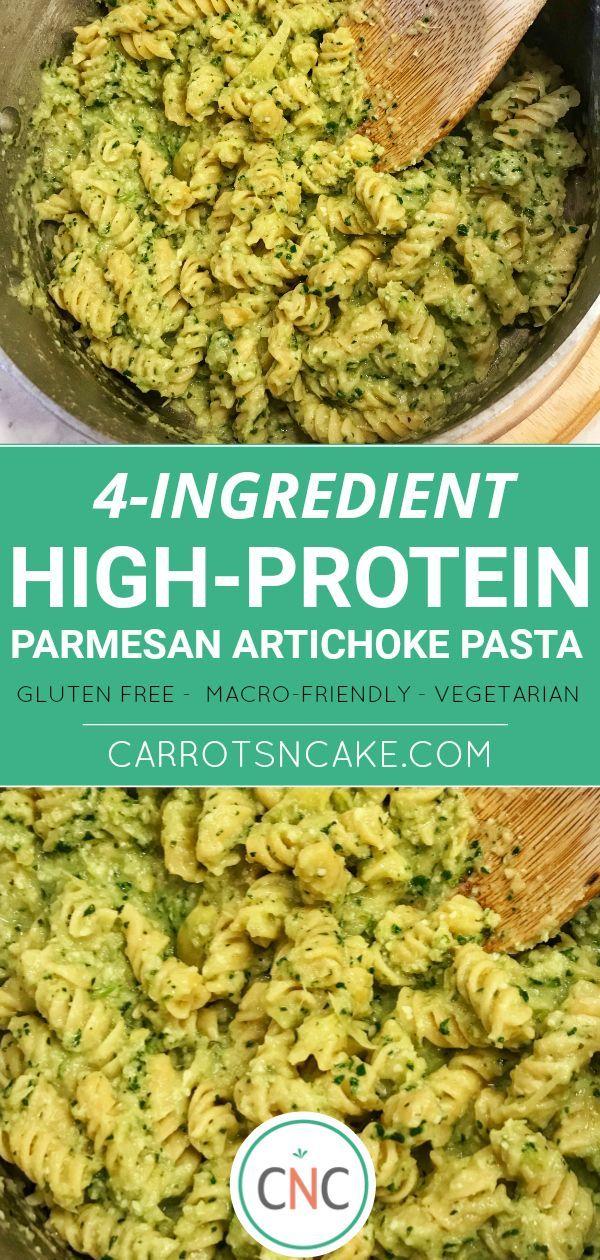 Meal Prep High Protein Artichoke Parmesan Pasta Carrots N Cake Recipe High Protein Vegetarian Recipes Vegetarian Meal Prep Protein Pasta Recipes
