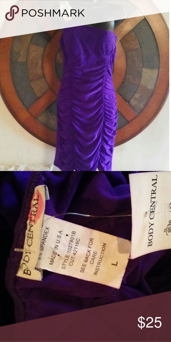 🇺🇸SALE🇺Body Central sz large dress NEW with tag Body Central sz large dress NEW with tag (purple is deeper than picture) foam pads in bustling 15 inches pit to pit 27 inches top of pit to hemline Body Central Dresses Mini