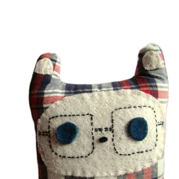 Plush Monster in Tartan by peutfeutre on Etsy, €18.00