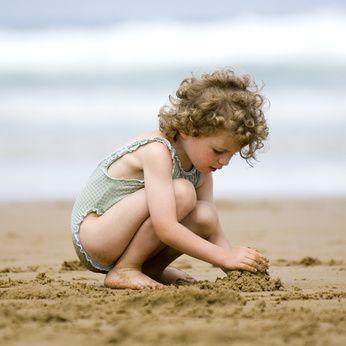 château de sable, plage, sable, enfant plage