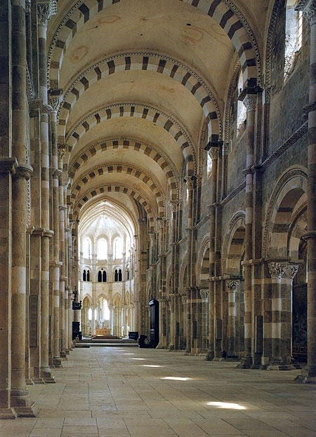 The great abbey at Vezelay in France in which you can find the relics of St Mary Magdalene.