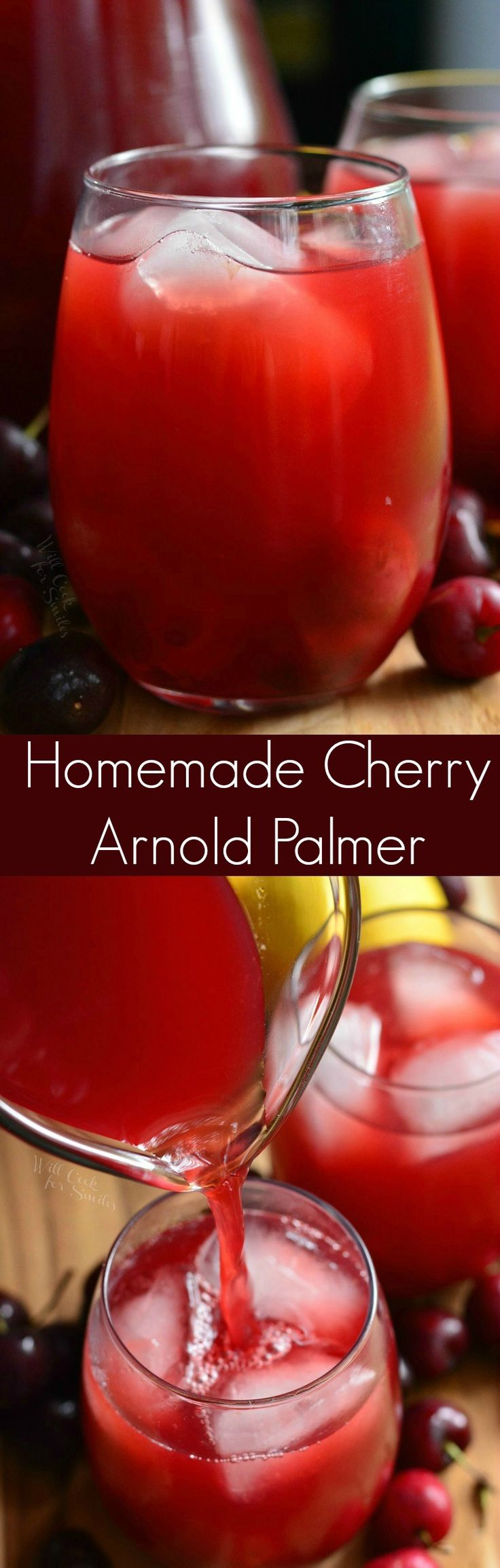 Homemade Cherry Arnold Palmer. This refreshing drink is a homemade Arnold Palmer, which is a mixture of iced tea and lemonade, that is flavored with fresh cherry compote.