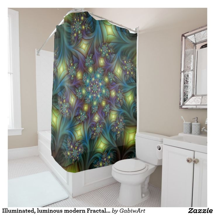 Illuminated, luminous modern Fractal Art Pattern Shower Curtain
