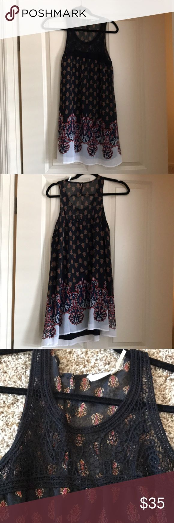 Summer sun dress Sheer sundress with lace overlay on the neck line! Great for barbecues, graduations or just a casual summer dress! It's too long on me! Size small (I'm 5 feet tall)! Dresses Mini