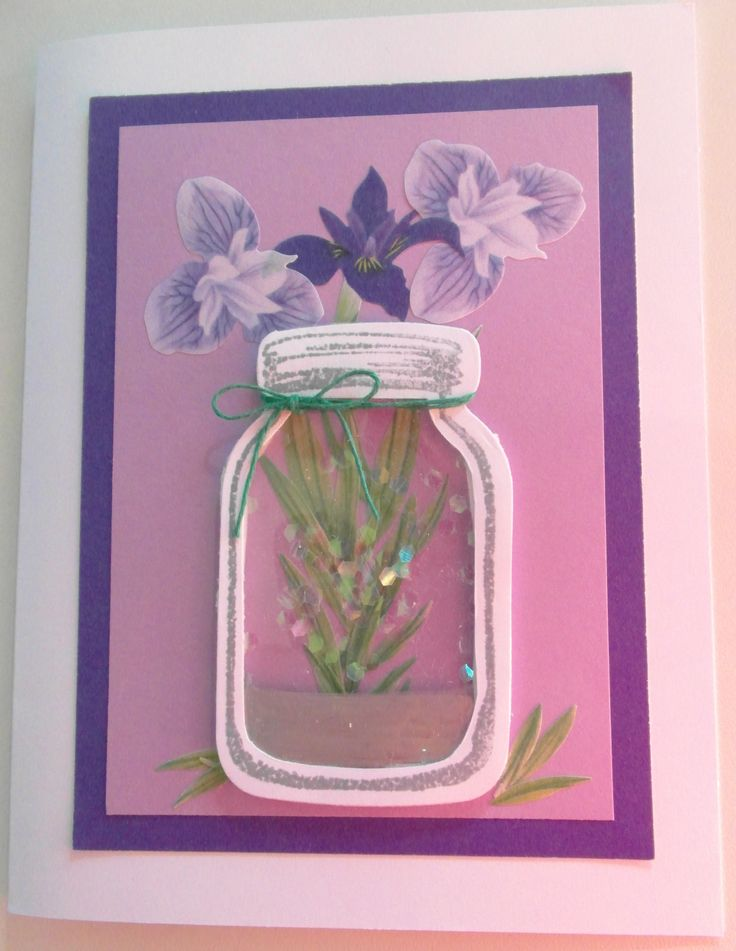 Using the Michaels Mason Jar stamp and die cut set.  Found I could create the acetate jar effect with some trial and error - using the die cut to make an impression and then cutting the jar out.  Also had to cut out inside of jar as no second die cut for that effect.  There is an awesome set by Stampin Up with lost of sizes of jars and accessories...