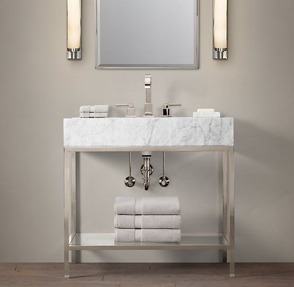 Rh 36 Hudson Metal Single Frame Washstand Bold Open More Marble Showing Some Storage