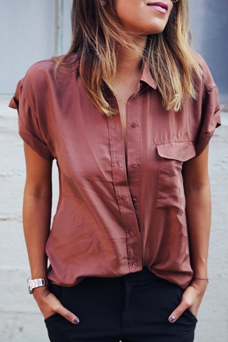Pure Color Turn Down Collar Short Sleeve Shirt