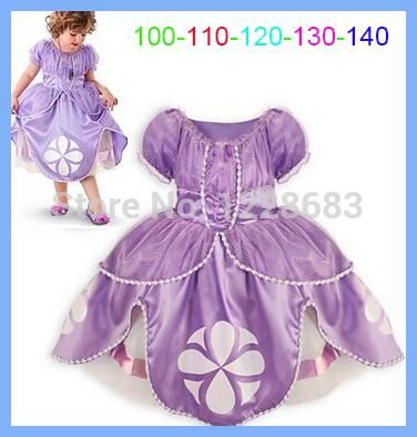 New Fantasy Kids Girls Child Princess Sofia Dress Costume Fantasia De Princesa Sophia Sofia Disfraz Princesa