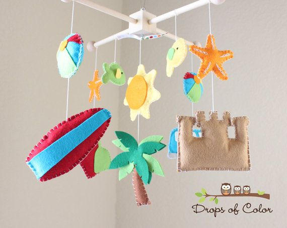 Baby Crib Mobile  Baby Mobile  Beach Surf Crib by dropsofcolorshop, $80.00