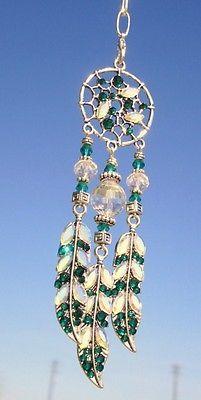 Emerald Green Crystal AB Rhinestone Dream Catcher Car Rear View Mirror Charm