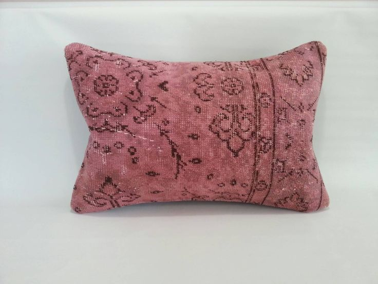 Turkish Oushak Anatolian PİNK Lumbar Cushion Cover,faded Pillow,area rug pillow,Home Living handwoven antique lumbar PİLLOW, 16x24 inches by Simavrug on Etsy