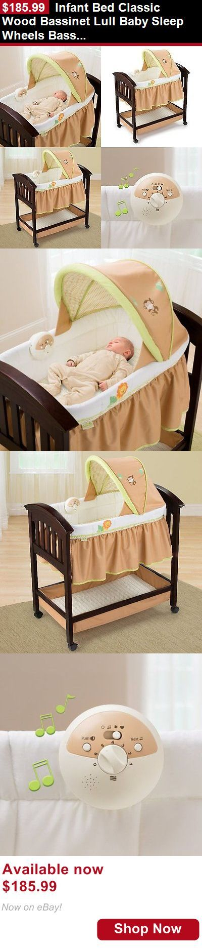 Baby Co-Sleepers: Infant Bed Classic Wood Bassinet Lull Baby Sleep Wheels Bassinet Mattress Room BUY IT NOW ONLY: $185.99