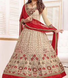 Buy Beige and Red embroidered net semi stitched salwar with dupatta anarkali-salwar-kameez online