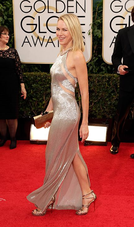 Naomi Watts spotted wearing the SLING sandal  to the 71st Annual Golden Globes