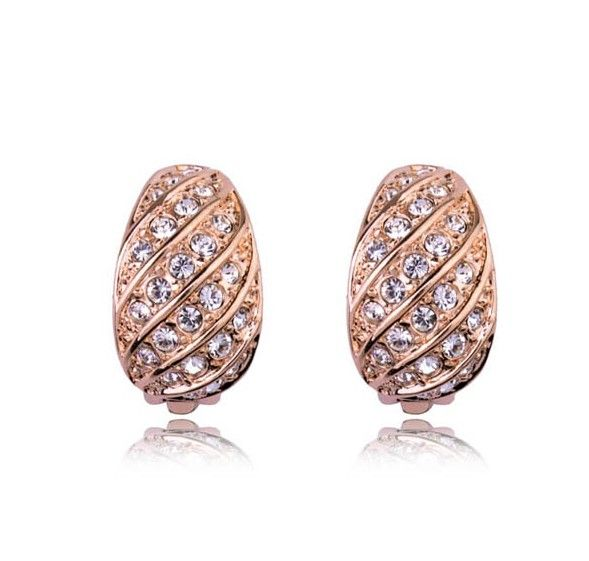 Rose gold-plated and crystal clip-on earrings
