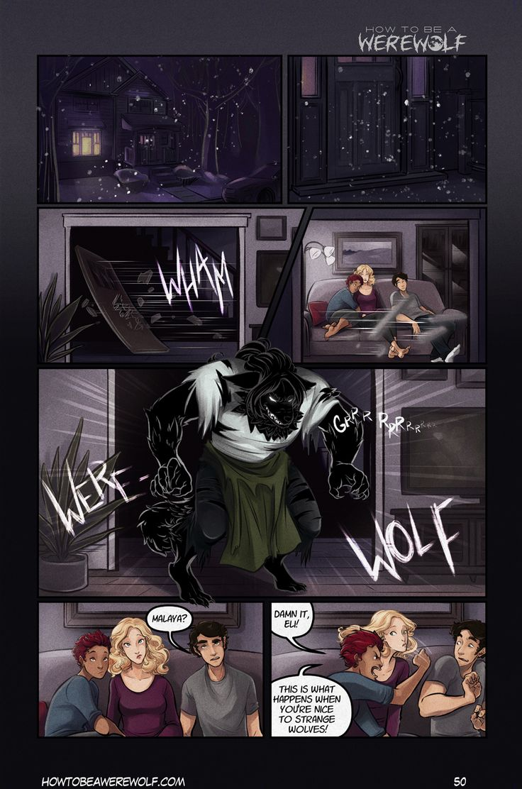 Page 50 of How to be a Werewolf. In color! Neat.