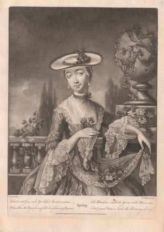 James Watson, 1740-1790, British, Spring, undated, Mezzotint on medium, moderately textured, cream, laid paper, Yale Center for British Art, Paul Mellon Fund