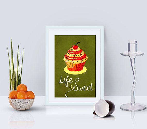 Cupcake poster kitchen word art bakery decor kitchen art