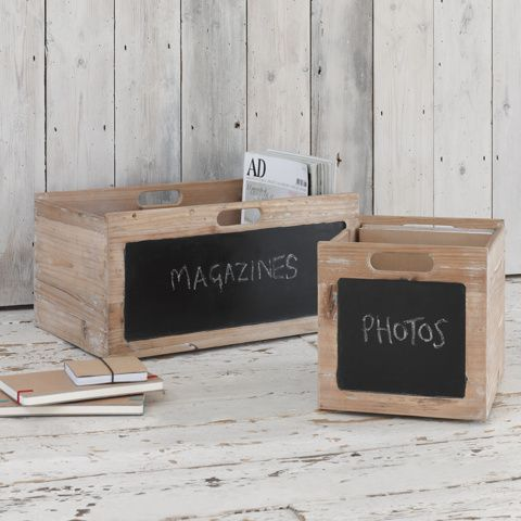 POMME. Our nifty storage boxes look just like apple crates and then some. They've got a chalkboard on one side so you'll never forget what's in them. Nifty, no?