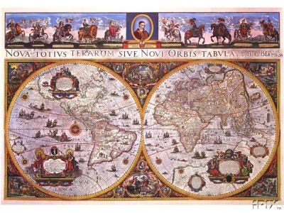 1665 bleau antique world wall mural map reproduction