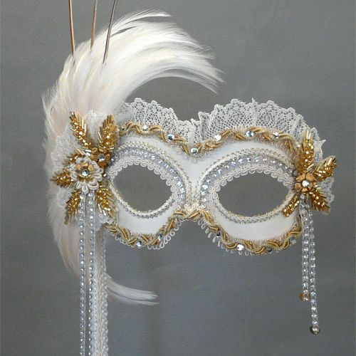 Custom masquerade masks - Tea Masquerade in Ivory/Gold