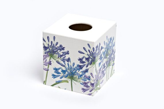 Agapanthus Design Tissue Box Cover by Crackpots - Wooden Handmade, Decoupage