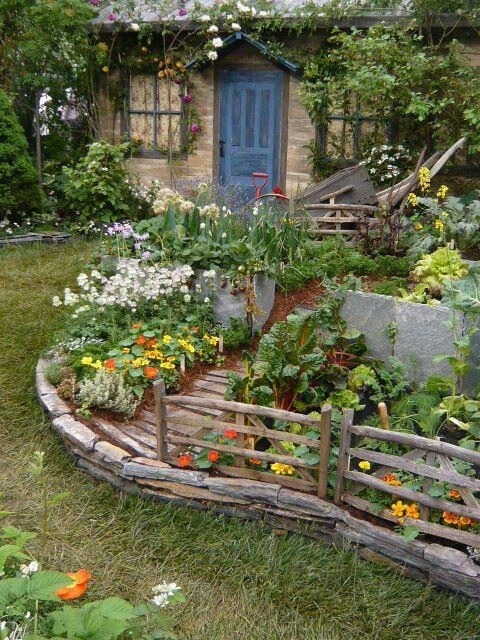 Cute Vegetable Garden Ideas Part - 22: A Cottage House And A Cottage Garden This Is Cute! I Need A Plan For My  Yard 2 Acres Of Wild Stuff Just Looks Wild!