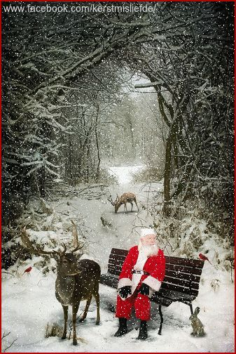Santa sitting on a bench accompanied by his reindeers and a bunny in front of a forest. I added falling snow and a border to it. DF.