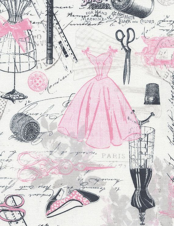 NEW - 1/2 YARD Timeless Treasures - Vintage Dressmaking - Pink/Grey - Novelty Fabric
