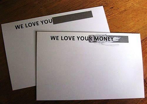 Desain Kartu Nama Unik tidak Biasa | we love your money envelope like business card