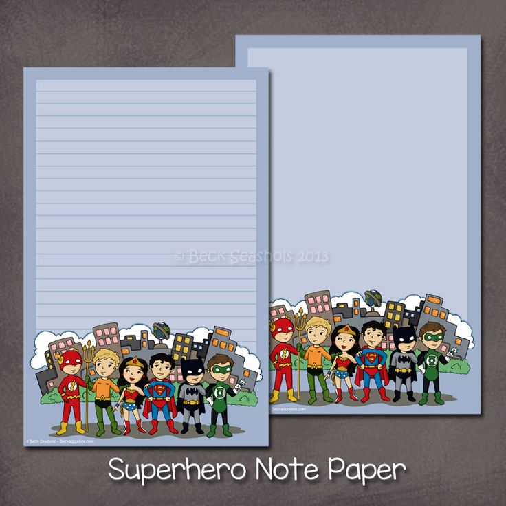 Justice League Superhero Stationery Set - stationery gift letter paper cute cartoon - Superman, Wonder Woman, Batman, Aquaman, Green Lantern by Beckadoodles on Etsy https://www.etsy.com/listing/194307637/justice-league-superhero-stationery-set