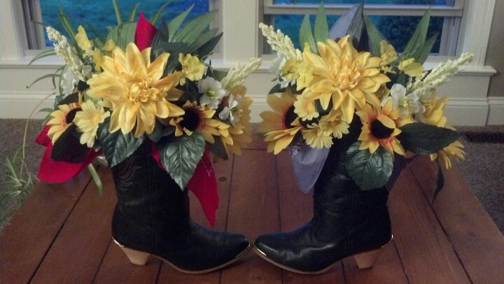 Country themed party centerpiece with cowboy boots i