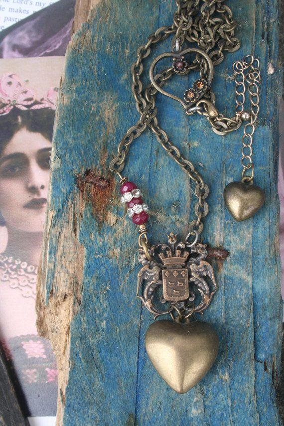 Heart necklace Vintage French Crown Vintage Assemblage