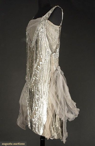 SILVER & GREY FLAPPER DRESS, 1920s Grey silk tulle over pewter lame, tulle covered in matte silver sequins & charcoal grey beads