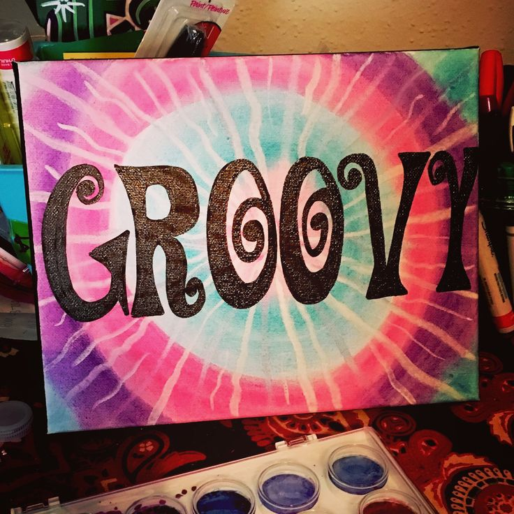 Groovy, tie dye, canvas, art, watercolor, acrylic, sharpie paint pens, ideas, hippie, boho, retro, painting, artsy, crafts, gifts