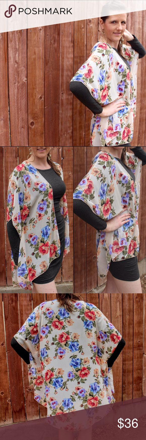 Peach/ Purple Rose Kimono Perfect for layering any time of the year. 100% polyester, light and float material. Pair with a sweater dress, a tank or jeans & a long sleeve top. Colors in pattern are: cream, peach, purple, blue, olive.  Follow on IG : @LetHeightArise Boutique Sweaters Cardigans